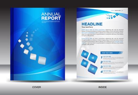 Ilustración de Blue Annual report template,cover design,brochure flyer,info graphics elements,leaflet,booklet,poster,newsletter,vector - Imagen libre de derechos