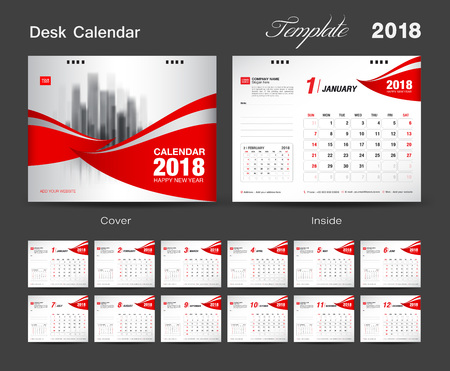 Set Desk Calendar 2018 template design, red cover, Set of 12 Months, Week start Sunday