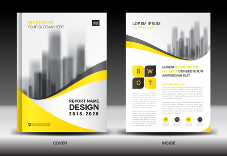 Illustration pour Annual report brochure flyer template, Yellow cover design, business advertisement, magazine ads, catalog, book, infographics element vector layout in A4 size - image libre de droit