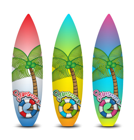 Set of surfboards for surfing vector illustration, tropical summer, web icons
