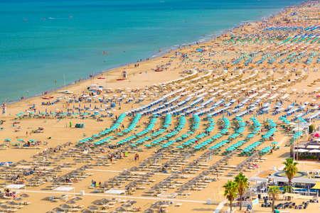 Foto de Aerial view of Rimini beach with people and blue water. Summer vacation concept - Imagen libre de derechos