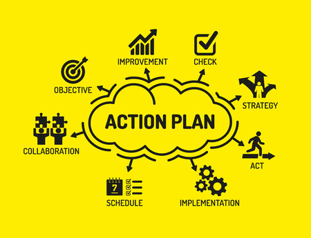 Illustration pour Action Plan. Chart with keywords and icons on yellow background - image libre de droit