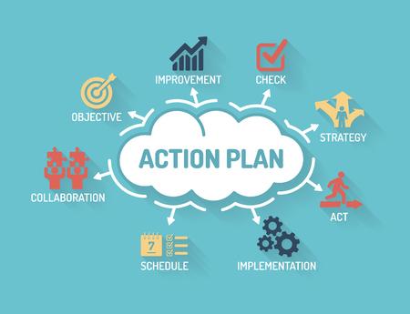 Illustration pour Action Plan - Chart with keywords and icons - Flat Design - image libre de droit