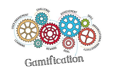 Illustration pour Gears and Gamification Mechanism - image libre de droit
