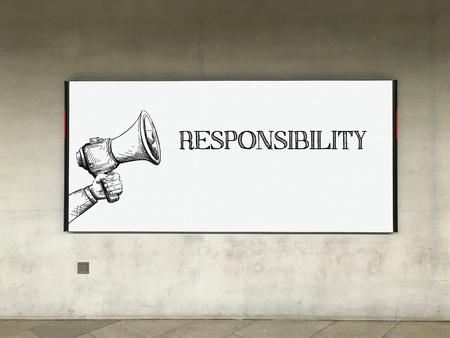 MEGAPHONE ANNOUNCEMENT RESPONSIBILITY ON BILLBOARD