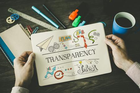 Foto de TRANSPARENCY sketch on notebook - Imagen libre de derechos