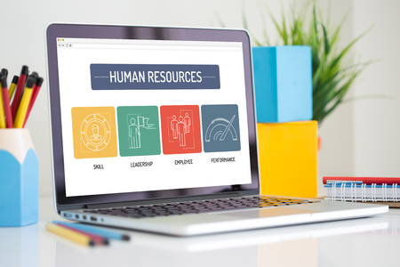 Foto de HUMAN RESOURCES ICON CONCEPT ON LAPTOP SCREEN - Imagen libre de derechos