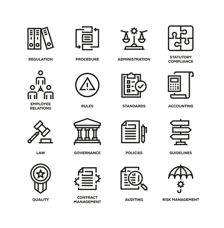 Illustration pour COMPLIANCE LINE ICON SET - image libre de droit