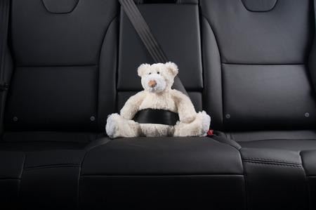 Foto de Teddy bear fastened in the back seat of a car, safety on the road - Imagen libre de derechos