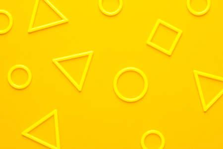 Photo pour photo of different 3d printed plastic geometric shapes on yellow background - image libre de droit