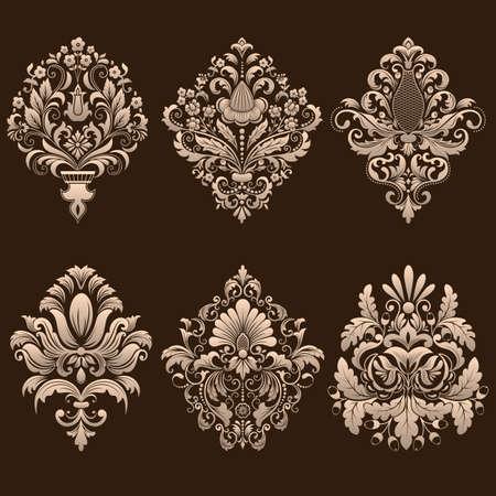 Illustration for Vector set of damask ornamental elements. - Royalty Free Image