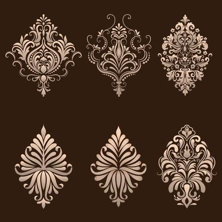 Ilustración de Vector set of damask ornamental elements. - Imagen libre de derechos