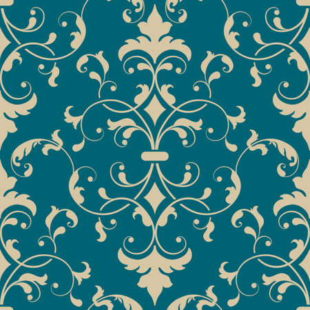 Illustration for Vector damask seamless pattern element. Elegant luxury texture for wallpapers, backgrounds and page fill. - Royalty Free Image