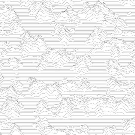 Illustration pour Vector striped background. Abstract line waves. Sound wave oscillation. Funky curled lines. Elegant wavy texture. Surface distortion. Monochrome. Grayscale backdrop. - image libre de droit