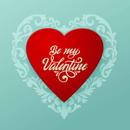 Ilustración de Happy Valentines day vector card. Big red heart with floral ornaments and elegant handwritten text Be My Valentine. Elegant and tender gift or invitation card. - Imagen libre de derechos