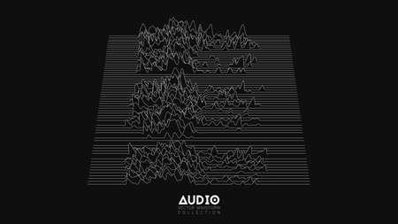 Ilustración de Vector 3d echo audio wavefrom spectrum. Abstract music waves oscillation graph. Futuristic sound wave visualization. Black and white line impulse pattern. Synthetic music technology sample. - Imagen libre de derechos