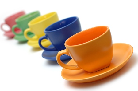 Foto für Colour tea pairs on a white background of a cup and a saucer - Lizenzfreies Bild