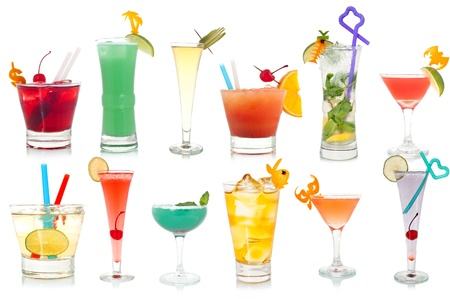 Wide assortment of freakish cocktails on a white background