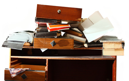 Photo for Messy workplace with stack of paper - Royalty Free Image