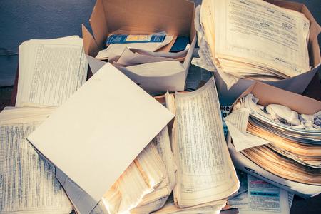 Photo pour Dirty messy paper documents as background closeup - image libre de droit