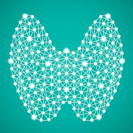 Ilustración de Human Thyroid Isolated On A Green Background. Vector Illustration.Endocrinology. Creative Medical Concept - Imagen libre de derechos
