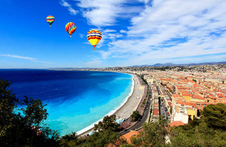 Photo for aerial view of beach in Nice France - Royalty Free Image