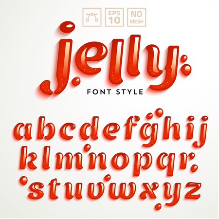 Ilustración de Vector latin alphabet made of strawberry jelly. Liquid font style. - Imagen libre de derechos