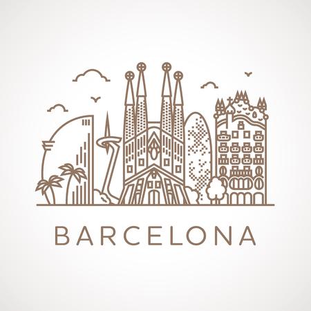 Ilustración de Trendy line illustration of Barcelona with different famous buildings and places of interest. Modern vector line-art design. - Imagen libre de derechos
