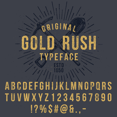 Illustration for Vector handmade font. Vintage styled grunge textured typeface. Latin alphabet letters and numbers. - Royalty Free Image