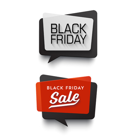 Illustration pour Black Friday Sale vector banner set. Nice plastic cards in material design style. Transparent black, white and red paper. - image libre de droit