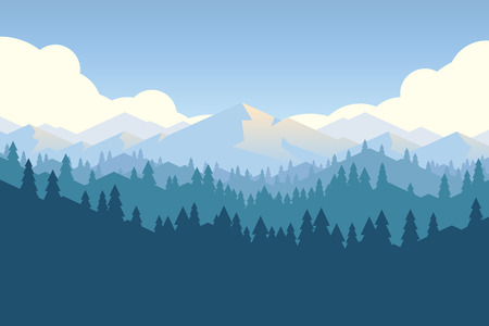 Illustration pour Vector mountains and forest landscape early in a daylight. Beautiful geometric illustration. - image libre de droit