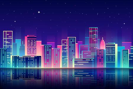 Illustration pour night city illustration with neon glow and vivid colors. - image libre de droit