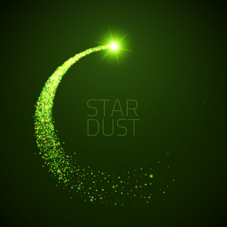 Illustration pour star dust circle. Magic glittering illustration. Bright green sparkes and stars on dark background - image libre de droit