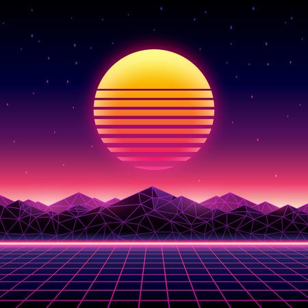 Ilustración de Retro futuristic background 1980s style. Digital landscape in a cyber world. Retrowave music album cover template with sun, space, mountains and laser grid on terrain. - Imagen libre de derechos