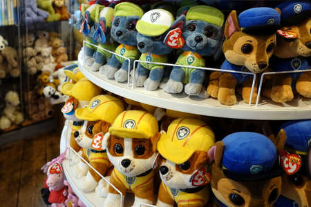 Photo for Padstow, Cornwall, April 11th 2018: Cuddly soft toys from the kids TV shop Paw Patrol for sale in a gift shop - Royalty Free Image
