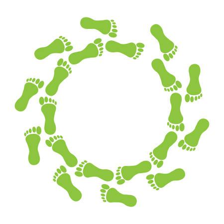 Ilustración de Green foot in ring on white background. - Imagen libre de derechos