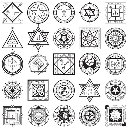 Illustration pour A vectors collection set of 25 unique magic and alchemy sigils and seals illustrations. - image libre de droit