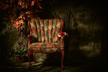 Foto de An empty, antique patterned chair shot in a chiaroscuro lighting style sitting next to artificial plant. - Imagen libre de derechos