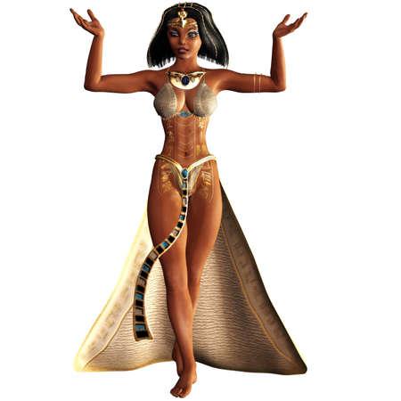 Photo for Cleopatra, the last female pharaoh - isolated on white - Royalty Free Image