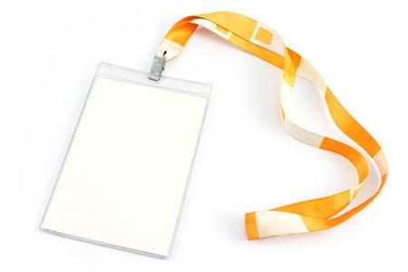 Foto de Blank ID card tag isolated on white - Imagen libre de derechos