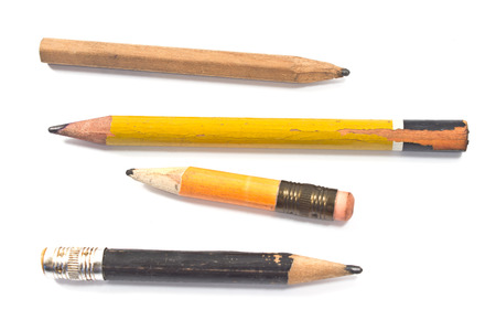 Photo pour Used wooden pencil isolated on white - image libre de droit