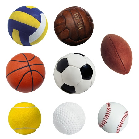 Ball sports isolated on white background