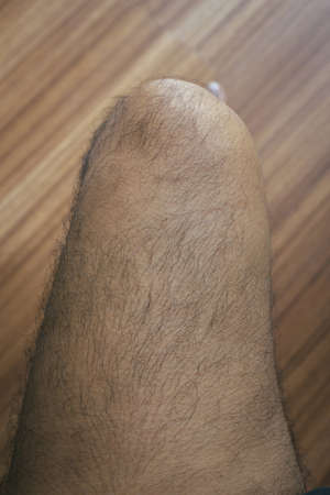 Foto de Legs hair of asian man close up - Imagen libre de derechos