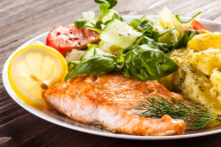 Photo for Grilled salmon and vegetables - Royalty Free Image