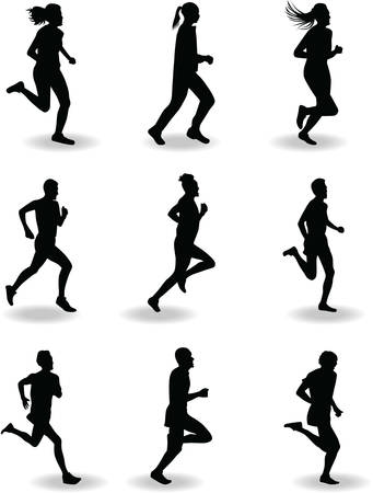 Ilustración de runner silhouette vector - Imagen libre de derechos