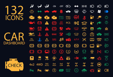 Ilustración de vector collection of car dashboard panel indicators, yellow red green blue indicators 132 icons - Imagen libre de derechos