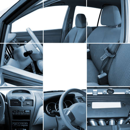 Collage of car interior details closeups