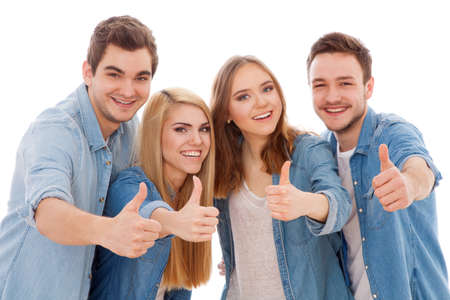 Photo pour Group of happy young people, isolated on white background - image libre de droit