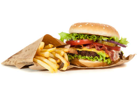 Photo pour Delicious hamburger and french fries on wooden background - image libre de droit