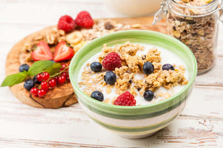 Photo for Healthy breakfast - muesli with berries - Royalty Free Image